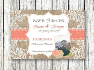 Romantic Rustic Burlap Save the Date Invitation - Save the Date