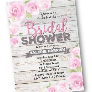 Rose Bridal Shower Invitation Flyer Rustic pink and grey - Bridal Shower Invitation
