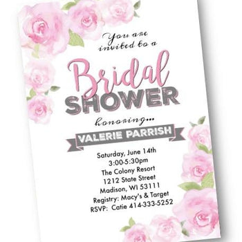Rose Bridal Shower Invitation - Garden pink rose blush bridal invite - Bridal Shower Invitation