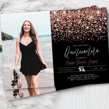 Rose Gold Sweet 16 Invitation with Photo Quinceanera Printed Invites Rose Gold or Gold Sixteenth Birthday Invitation with Photo Glitter