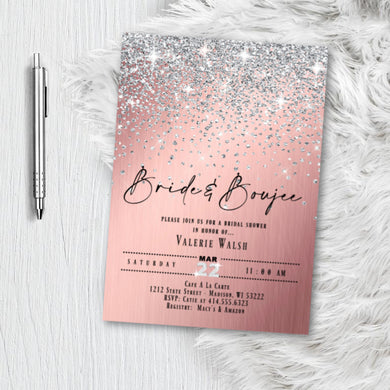 Rose Gold Bridal Shower Invitation, Bride and Boujee Glitter Confetti Pink and silver Blush Sparkles Printed Wedding Invites