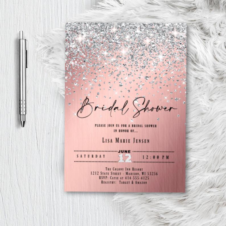 Rose Gold Bridal Shower Invitation, Miss to Mrs Glitter Confetti Pink and silver Blush Sparkles Printed Wedding Invites