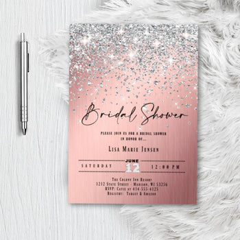 Rose Gold Bridal Shower Invitation, Miss to Mrs. Glitter Confetti Pink Blush Silver Sparkles Printed Wedding Invites