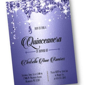 Royal Blue Quinceanera Invitation - Sweet 16 Sixteen Invite - Formal and Elegant dark blue Glitter - Birthday Invitation