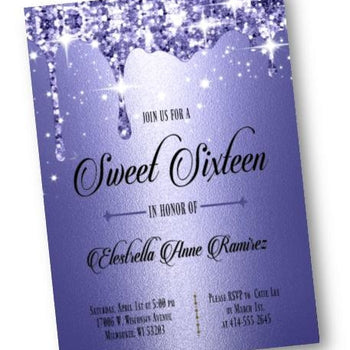 Royal Blue Sweet 16 Invitation - Formal Quinceanera or Sweet 16 Sixteen Invite - Elegant dark blue Glitter - Birthday Invitation