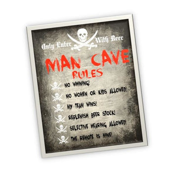 Rules Man Cave Garage Wall Art - Mens Decor - Garage Pictures