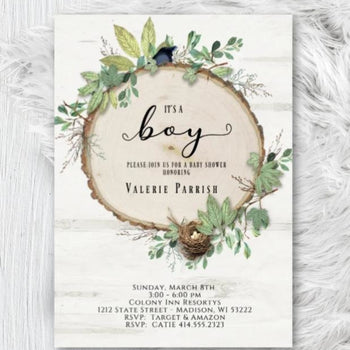 Rustic Baby Shower Invitation Greenery Botanical Boy Girl or Gender Neutral Bird with nest Woodland Invite - Baby Shower Invitation