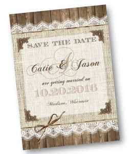 Rustic Burlap And Lace Save the Date Invitation Flyer - Save the Date