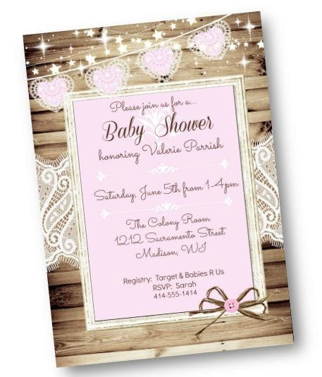 Rustic Girl Baby Shower Invitation Flyer with Wood and Lace - Baby Shower Invitation