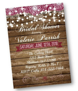 Rustic Lace Bridal Shower Invitation Flyer in Burgundy - Bridal Shower Invitation