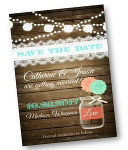 Rustic Mason Jar Save the Date Wedding Invitation Card Coral and Mint - Save the Date