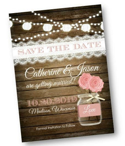 Rustic Pink Mason Jar Save the Date Wedding Invitation Flyer in Blush - Save the Date
