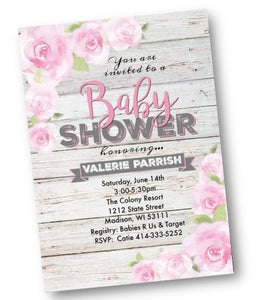 Rustic Pink Rose Garden Baby Shower Invitation Flyer - Baby Shower Invitation