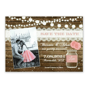 Rustic Save the Date Invitation Blush Pink Wood Mason Jar with Photo Wedding Card - Save the Date