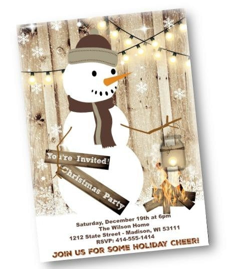 Rustic Snowman Holiday Christmas Party Invitation Flyer - Holiday Invitation