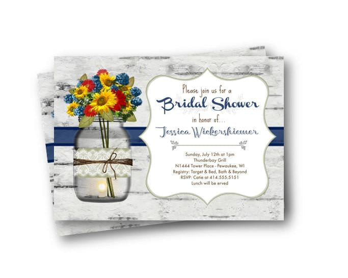 Rustic Sunflower Mason Jar Bridal Shower Invitation - Bridal Shower Invitation