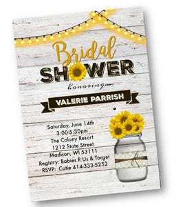 Rustic Sunflower Mason Jar Bridal Shower Invitation Flyer - Bridal Shower Invitation