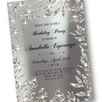 Silver Birthday Invitation - Silver Leaf Sparkly Sweet 16 or ANY Age party invite - glitter digital printable or printed - Birthday