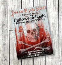 Skull Halloween Invitation - Adult Skull Crossbone Scary Halloween Party Invitation - Holiday Invitation