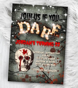 Skull Halloween Invitation - Scary Adult Invitation - Birthday costume party invite - bloody spooky red halloween party - Holiday Invitation