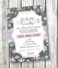 Snowflake Baby Shower Invitation Flyer in Teal - Winter Wonderland - Holiday Invitation