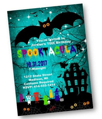 Spooktacular Halloween Monsters Birthday Party Invitation Flyer - Holiday Invitation