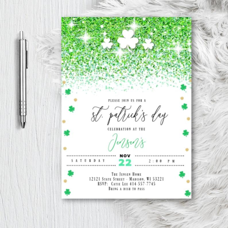 St. Patricks Day Party Invitation Lucky Cheer and Beers Adult Birthday Invitation Shamrock Printed or Printable Invite - Holiday Invitation