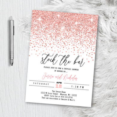 Rose Gold Couples Bridal Shower Invitation, Stock the Bar Glitter Confetti Pink Blush Sparkles Printed Wedding Invites