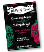 Sugar Skull Birthday Party Invitation Flyer - Choose ANY 2 colors! - Birthday Invitation