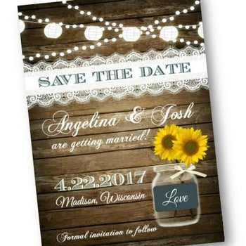 Sunflower Save The Date Wedding Invitation with Rustic Wood and Mason Jar - Save the Date