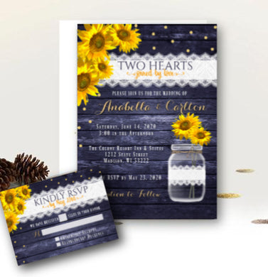 Sunflowwer Wedding Invitation Set with RSVP, Rustic Mason Jar, Floral Wood and Lace Country Barn Printed Yellow and Navy with Gold Invitations