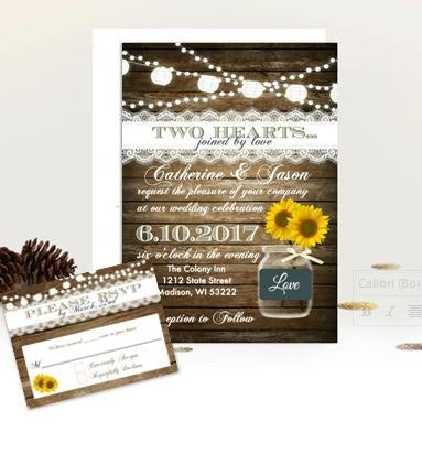 Sunflower Wood and Lace Rustic Mason Jar Wedding Invitation Suite with RSVP - Wedding Suite