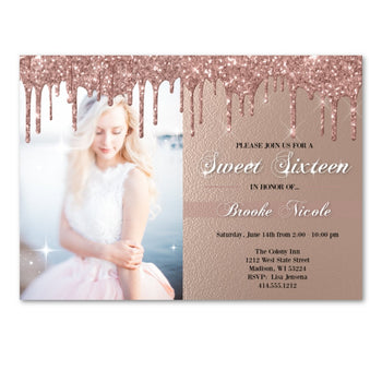 Sweet 16 Invitation - Pink Glitter Sparkly Sweet Sixteen Birthday Party Invite with Photo - Birthday Invitation