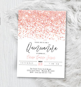 Rose Gold Quinceanera Invitation, Sweet 16 Birthday Invite, Sweet 15 Pink White Sparkle Confetti Glitter Printed Invitations