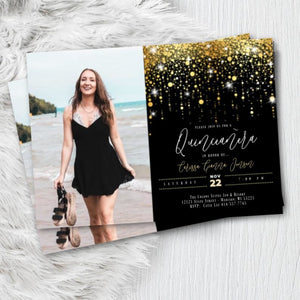 Sweet 16 Photo Invitation Quinceanera Printed Invites Rose Gold or Gold Sixteenth Birthday Invitation with Photo Glitter Script - Birthday