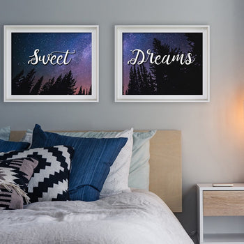 Sweet Dreams 2 Piece Wall Art Print - Bedroom Decor - Night Landscape Sky Star Picture Set