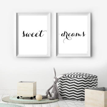 Sweet Dreams Wall Art Print - Girl Bedroom Decor - Minimalist Nursery Wall Picture