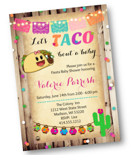Taco Bout A Baby Baby Shower Invitation - Rustic Wood - Fiesta Baby Shower Invite - Baby Shower Invitation