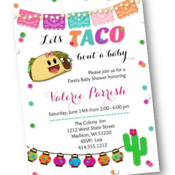Taco Bout A Baby Baby Shower Invitation - white - Fiesta Baby Shower Invite - Baby Shower Invitation