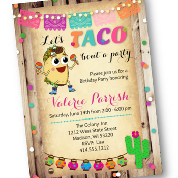 Taco Bout A Party - Birthday Fiesta Party Invitation - Invites for Taco Party - Birthday Invitation