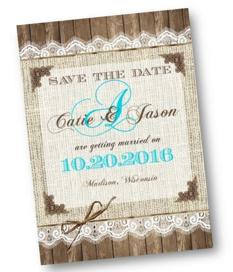 Teal Burlap And Lace Save the Date Wedding Invitation with Monogram - Save the Date