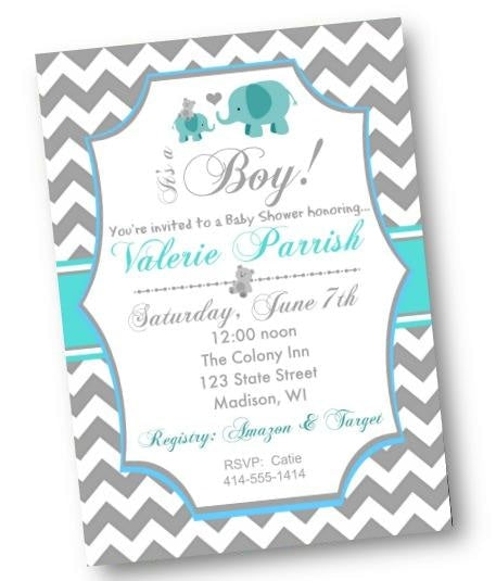 Teal Chevron Elephant Baby Shower Invitation - Baby Shower Invitation