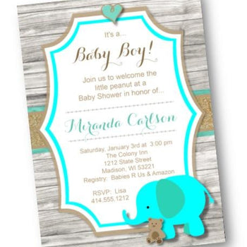 Teal Elephant Baby Shower Invitation for Boy or Gender Nuetral - Baby Shower Invitation