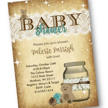 Teddy Bear Baby Shower Invitation Flyer with Mason Jar - Baby Shower Invitation