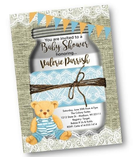 Teddy Bear Baby Shower Invitation Flyer with Rustic Mason Jar - Baby Shower Invitation