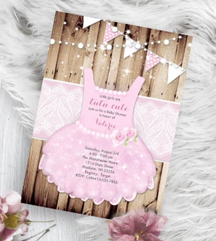 Tutu Cute Baby Shower Invitation pink Princess onesie invite flyer design - Baby Shower Invitation