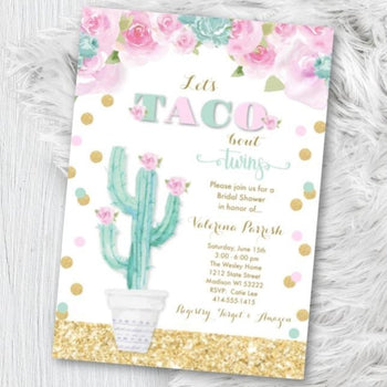 Twin Baby Shower Invitation Taco Bout Twins Pink and Mint Green Baby Shower Invite Fiesta Taco Mexican Themed Party Invite Gold Pink and