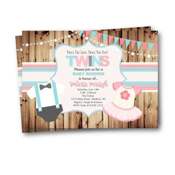 Twins Baby Shower Invitation - Baby Shower Invitation