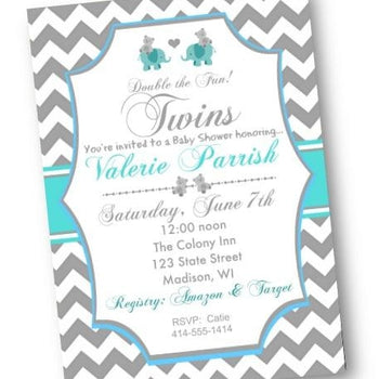 Twins Elephant Baby Shower Invitation Chevron Teal and Gray Flyer - Baby Shower Invitation