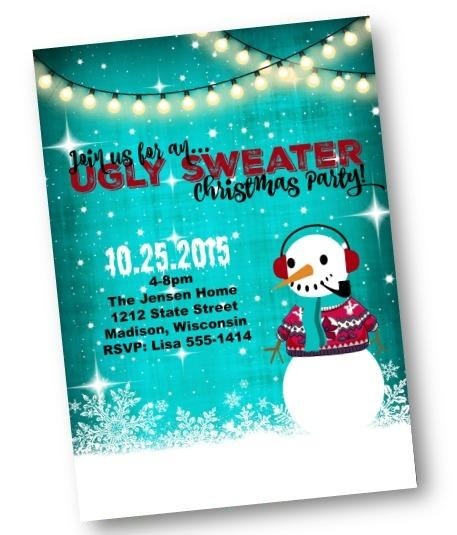 Ugly Sweater Party Invitation with Snowman in blue - Holiday Invitation